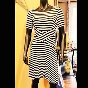 eci New York, nautical striped black & white dress
